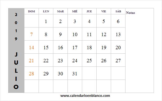 Mes De Julio Calendario.Mix Mes De Julio Calendario 2019 Calendario 2019 Editable