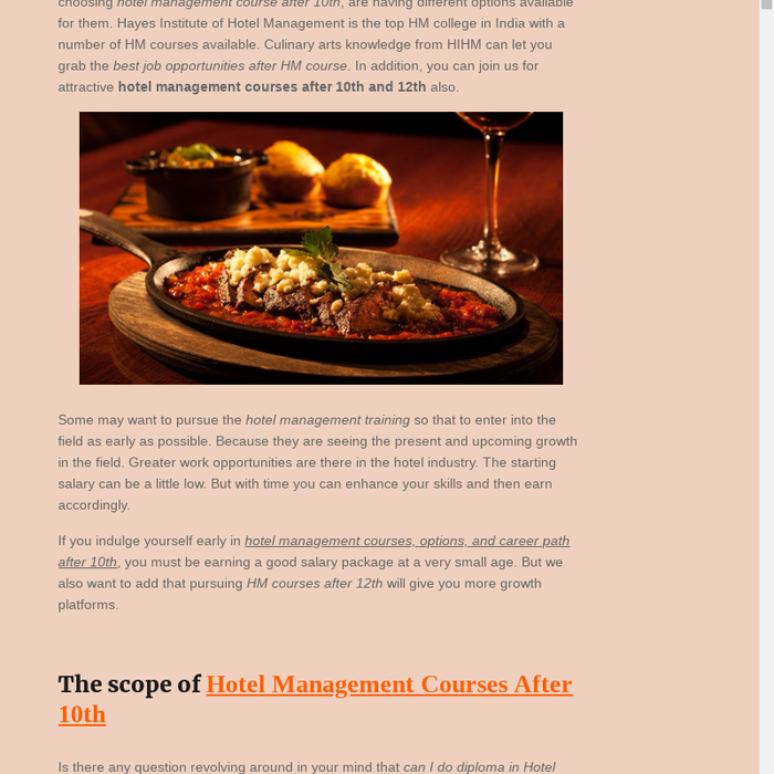 Mix Hotel Management Courses After 10th Hotel Management Courses