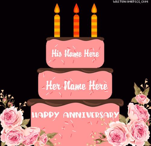 Mix Romantic Anniversary Cake With Name