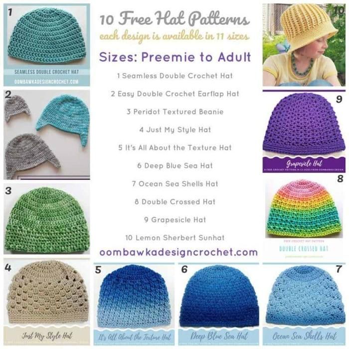 Mix Top 10 Crochet Hat Patterns Free Size Preemie To Adult