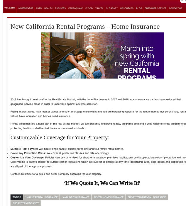 Mix · California Rental Insurance Programs