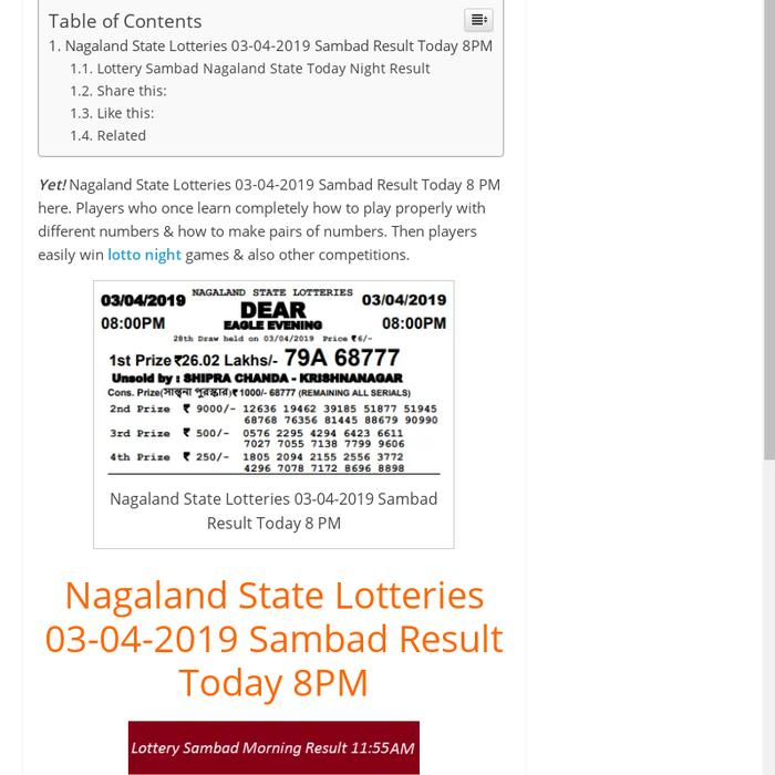 Mix · Nagaland State Lotteries 03-04-2019 Sambad Result