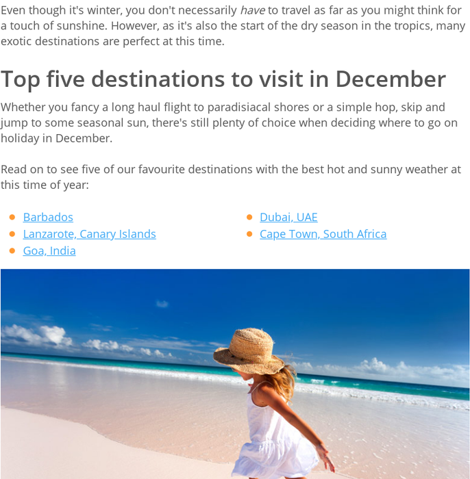 Mix Where To Go On Holiday In December 2018 2019 For Hot Weather