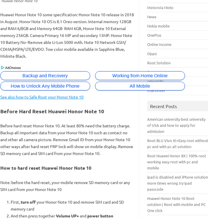 Mix · Huawei Honor Note 10 Hard reset, Factory reset Soft