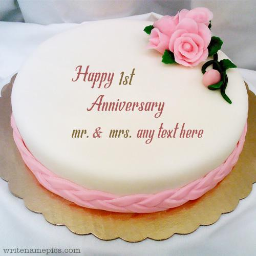 Mix Write Your Name And Marriage Year On Happy Anniversary Cake