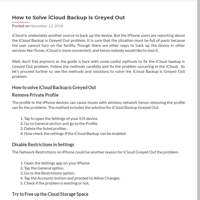 Mix · How to Solve iCloud Backup Is Greyed Out - office com/setup
