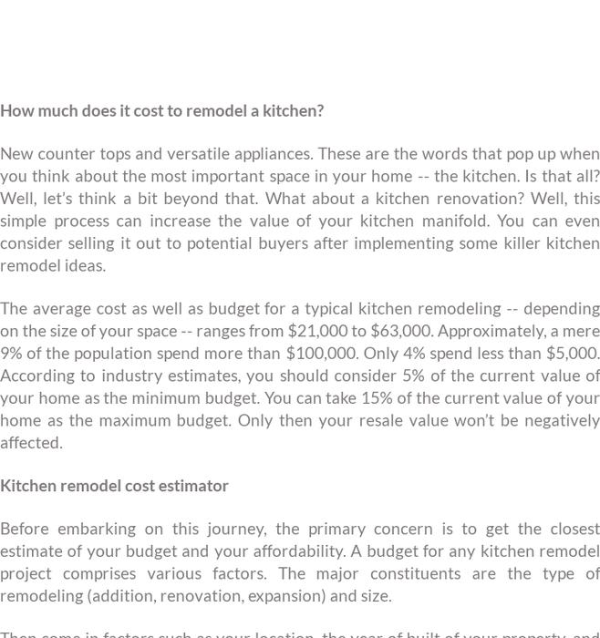 mix 2018 kitchen remodel cost estimator kukun