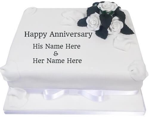Mix Write Your Name On Happy Anniversary Flower Cake Pics