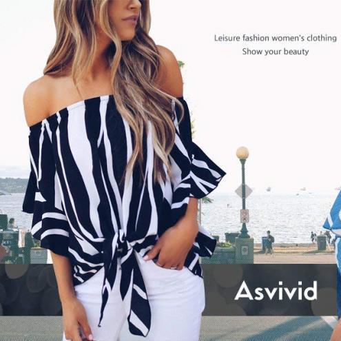 451a9d2e027 fashion.katalay.netAsvivid Women s Striped Off Shoulder Bell Sleeve Shirt  Tie Knot Casual Blouses TopsAsvivid Women s Striped Off Shoulder Bell  Sleeve Shirt ...