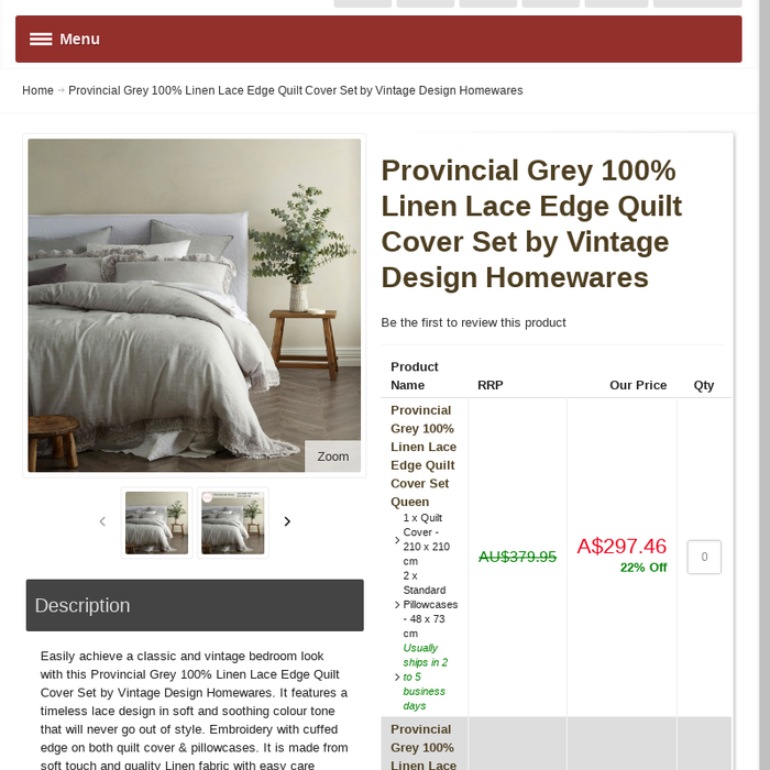 4e01d27418 ... Provincial Grey 100% Linen Lace Edge Quilt Cover Set by Vintage Design  Homewares. It features a timeless lace design in soft and soothing colour  tone ...