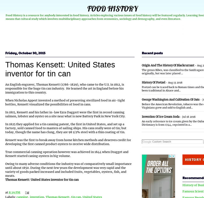 Mix · Thomas Kensett: United States inventor for tin can