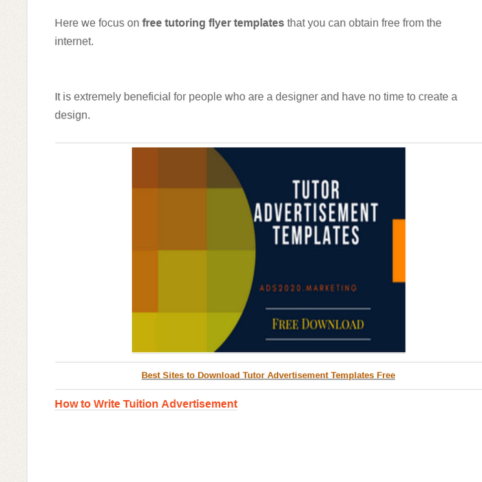 mix 10 best websites to get tutor advertisement templates free