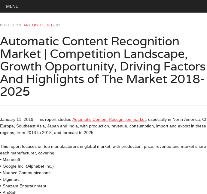 Mix · Automatic Content Recognition Market | Competition Landscape