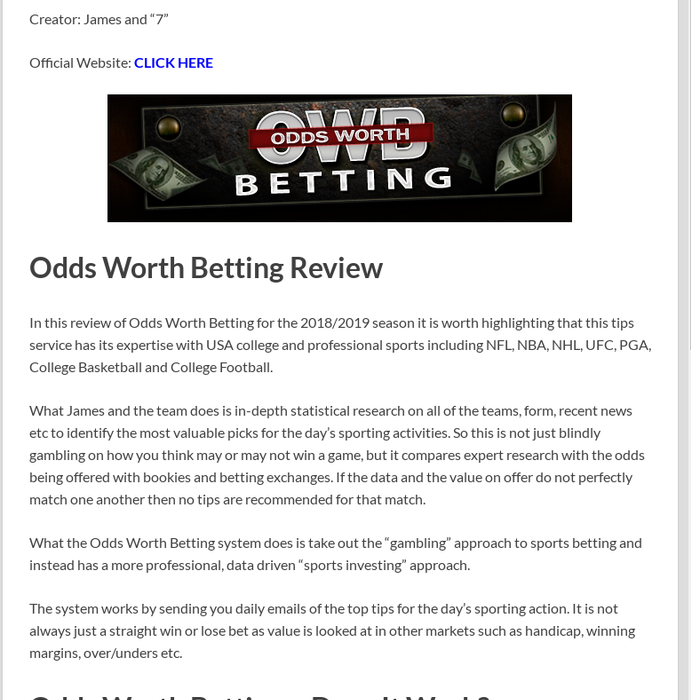 Mix · Odds Worth Betting Review - Sports Tips That Work?