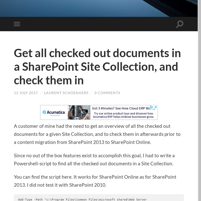 Mix · Get all checked out documents in a SharePoint Site Collection