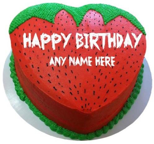 Mix Write Name On Happy Birthday Strawberry Shape Cake Images