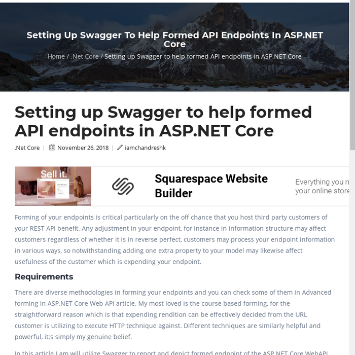 Mix · Setting up Swagger to help formed API endpoints in ASP