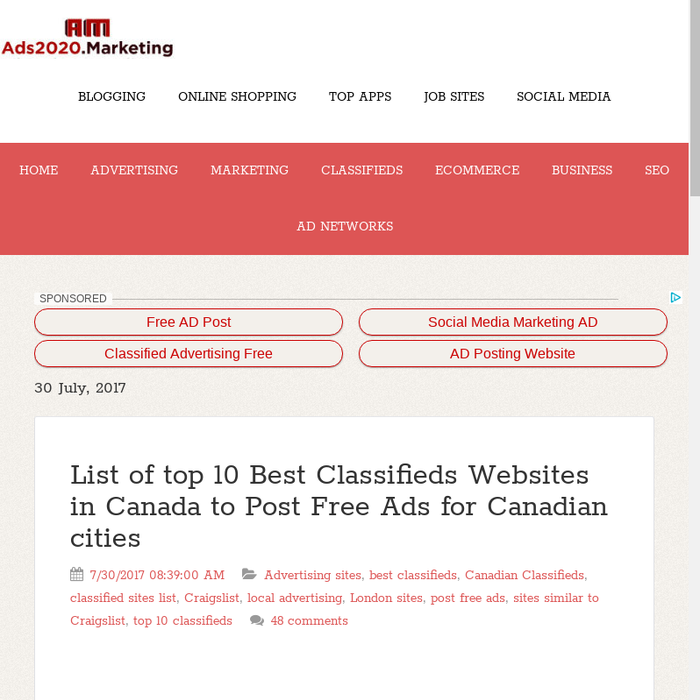 Post Free Ads For Canada Local Places Using Advertising Sites List Of Top 10 Clifieds 2018 Por Clified Websites Like Craigslist Kijiji