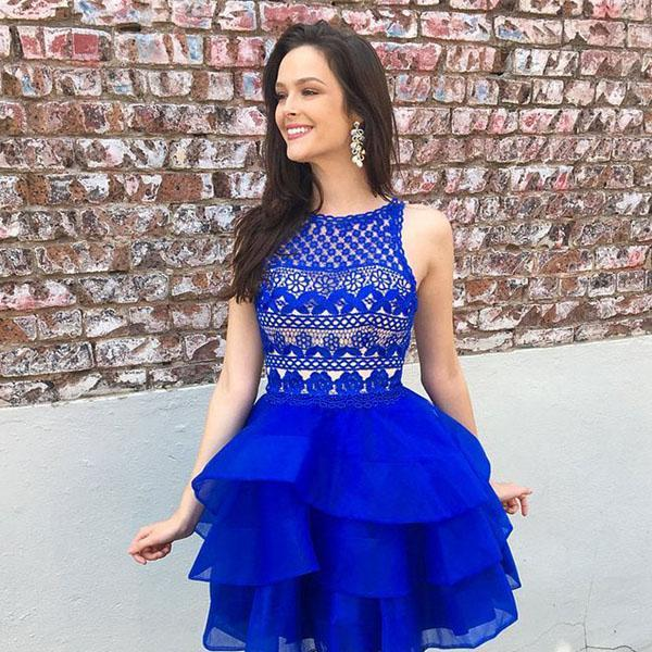 ee05a0a668f Mix · Cute Organza Skirt Royal Blue A-line Lace Top Short Homecoming ...