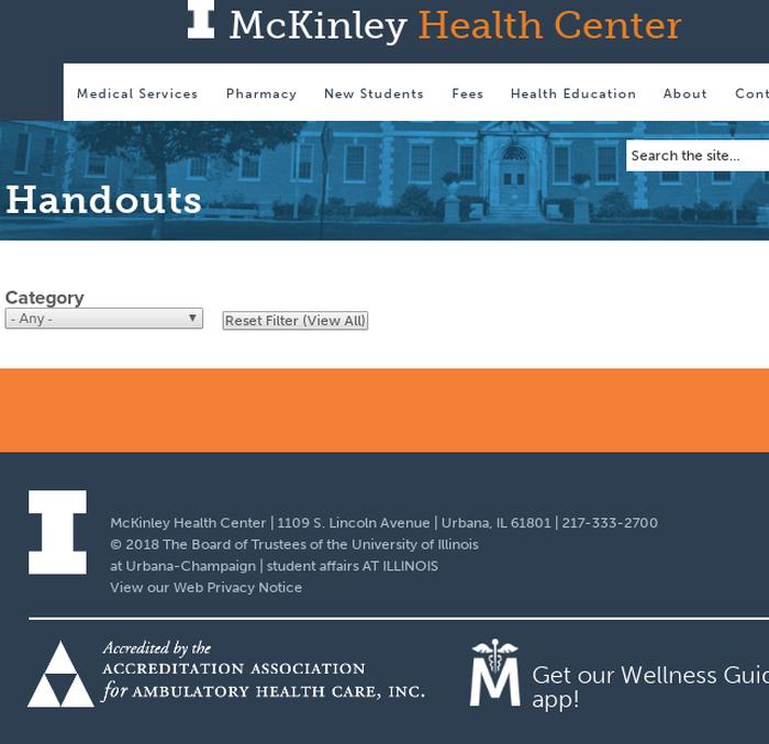 b059507a79c7e8 mckinley.illinois.eduHandouts   McKinley Health Center   University of  Illinois at Urbana-Champaign