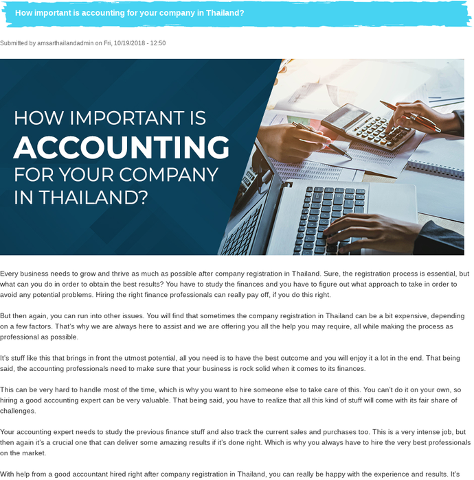Mix · How important is accounting for your company in Thailand?