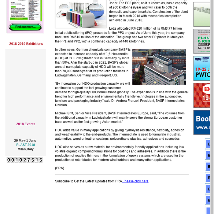 Mix · Plant Expansions: Lotte Chemical starts up PP plant in