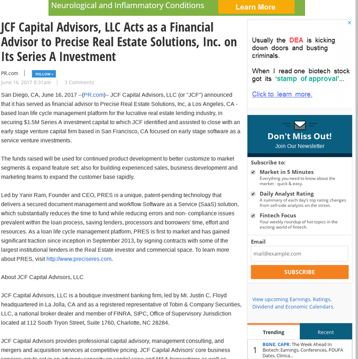 Mix · JCF Capital Advisors, LLC Acts as a Financial Advisor to