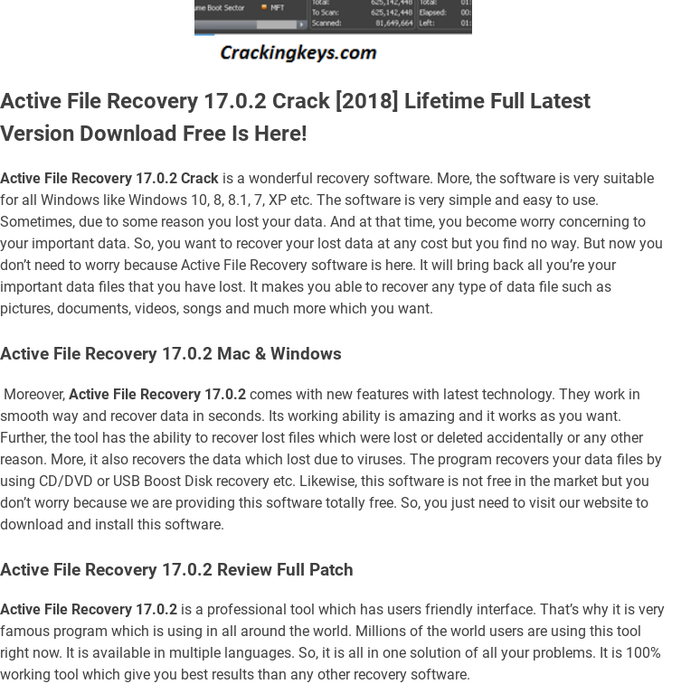 active file recovery software free download with crack