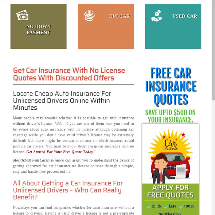 Mix Car Insurance With No License Auto Insurance Without Driver