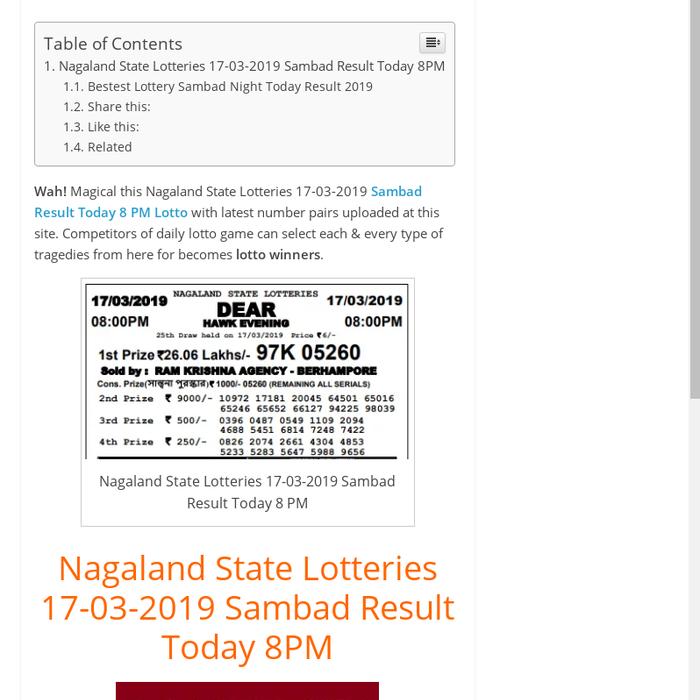 Mix · Nagaland State Lotteries 17-03-2019 Sambad Result