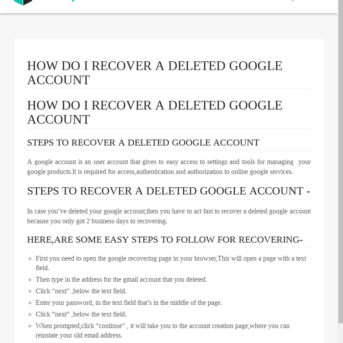 Mix · 1-888-653-7308 How do I recover a deleted Google