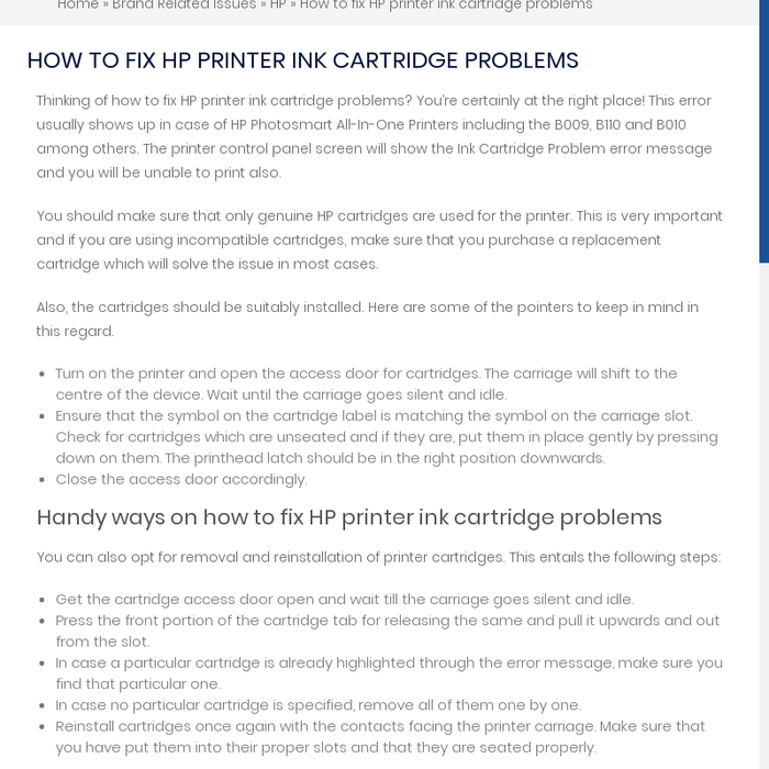 Mix · How to fix HP printer ink cartridge problems