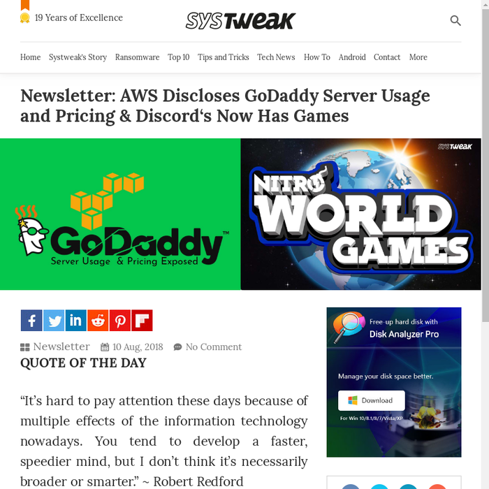 Mix · Newsletter: AWS Discloses GoDaddy Server Usage and