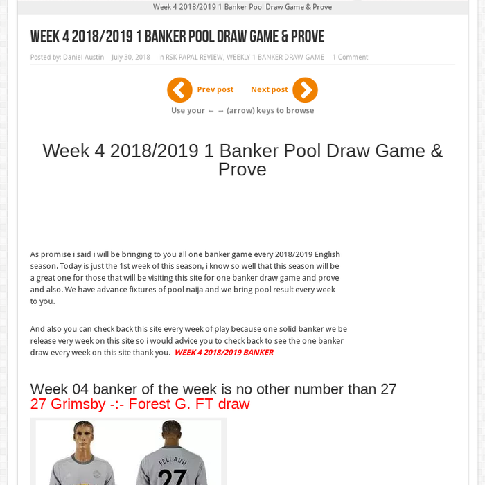 Pool Draw This Week