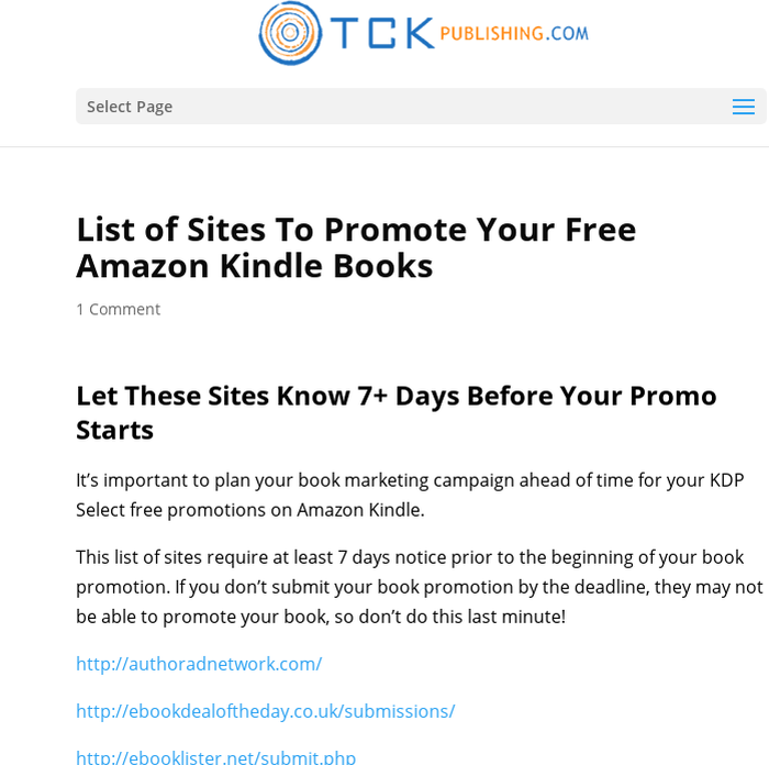 Mix · List of Sites To Promote Your Free Amazon Kindle Books