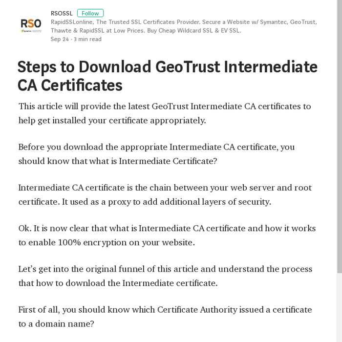 Mix · Steps to Download GeoTrust Intermediate CA Certificates