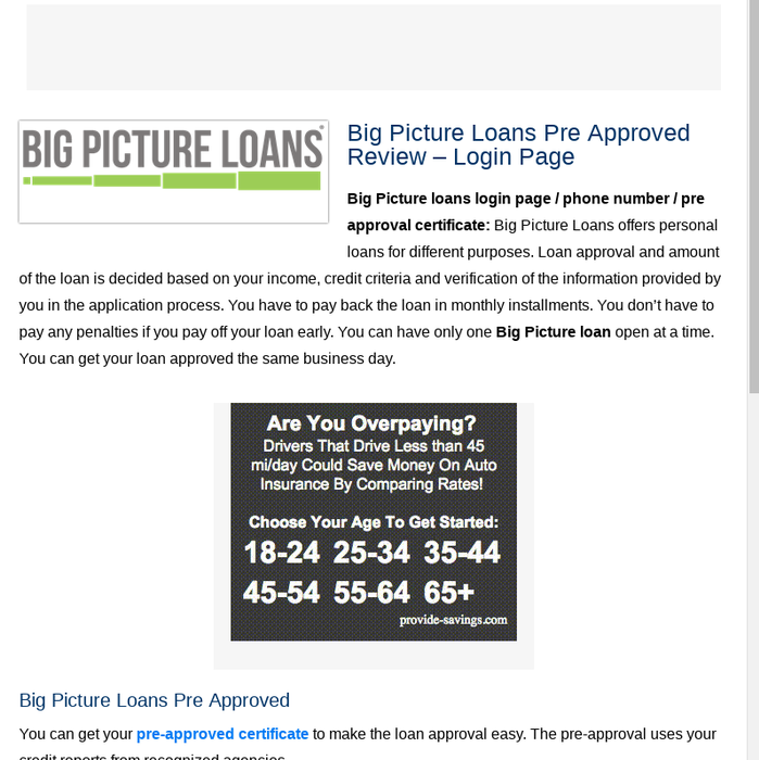 Big Picture Loans Pre Approval