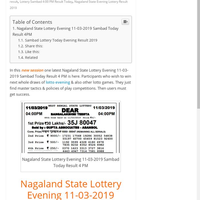 Mix · Nagaland State Lottery Evening 11-03-2019 Sambad Today