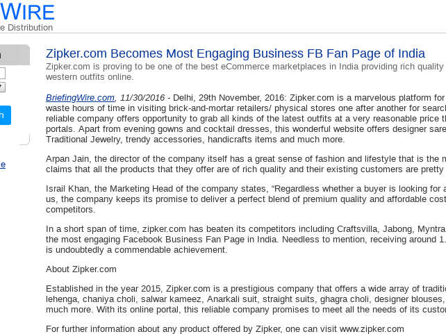 eb6d9804cf Mix · Zipker.com Becomes Most Engaging Business FB Fan Page of India