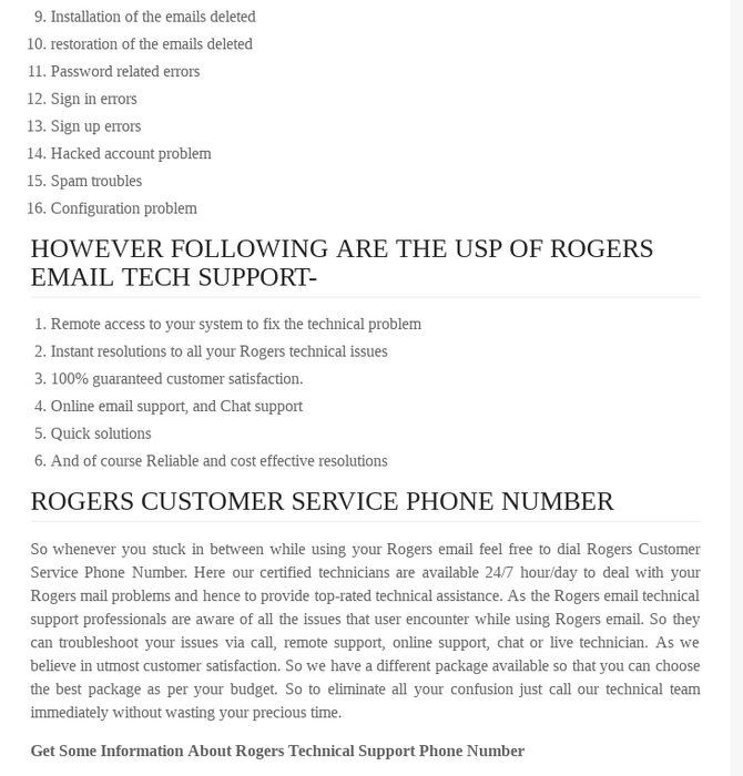 Mix · Rogers Technical Support 1888-653-7308 Customer Service Toll