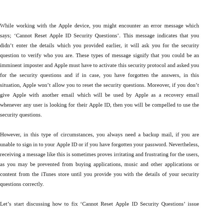 Mix · Fix: 'Cannot Reset Apple ID Security Questions' Problem