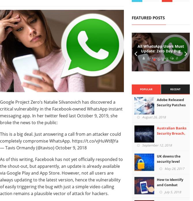 Mix · All WhatsApp Users Must Update: Zero Day Bug Found in WhatsApp