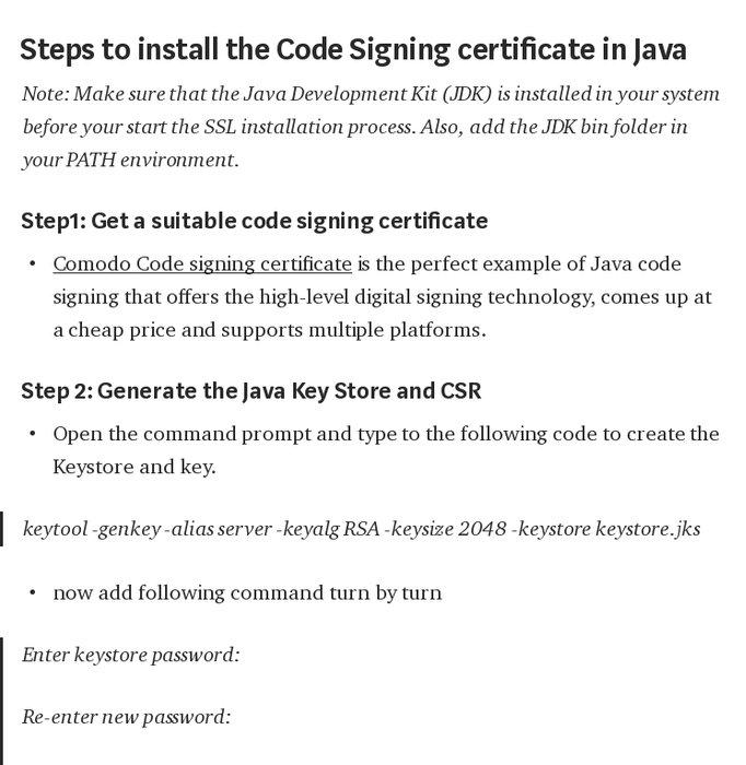 Mix · Java Code Signing Certificate — Generate CSR and