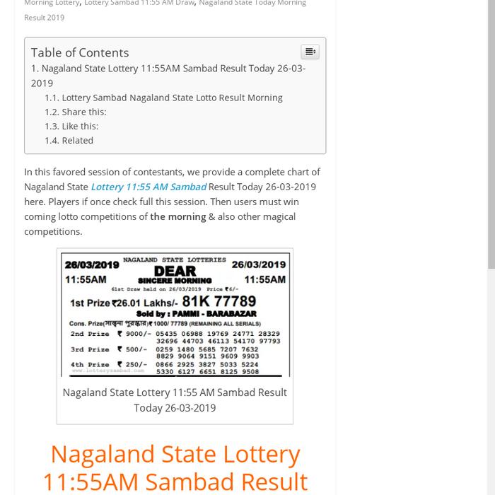 Mix · Nagaland State Lottery 11:55 AM Sambad Result Today 26-03-2019