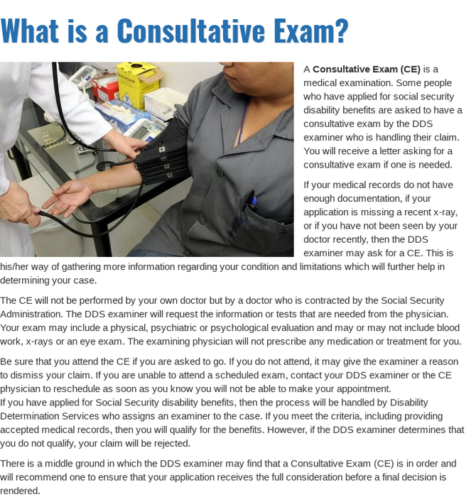 Mix What Is A Consultative Exam Disability Help Center